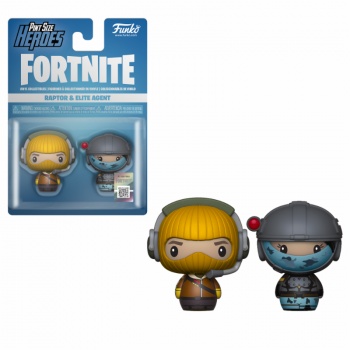 FORTNITE - 2 Pint Size Heroes Figures - Raptor & Elite - 6cm