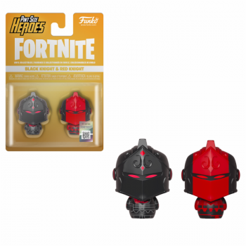 FORTNITE - 2 Pint Size Heroes Figures - Black & Red Knight - 6cm