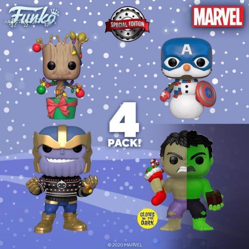 MARVEL - Bobble Head POP - Marvel Happy Holiday 4 PACK Sp. Edition
