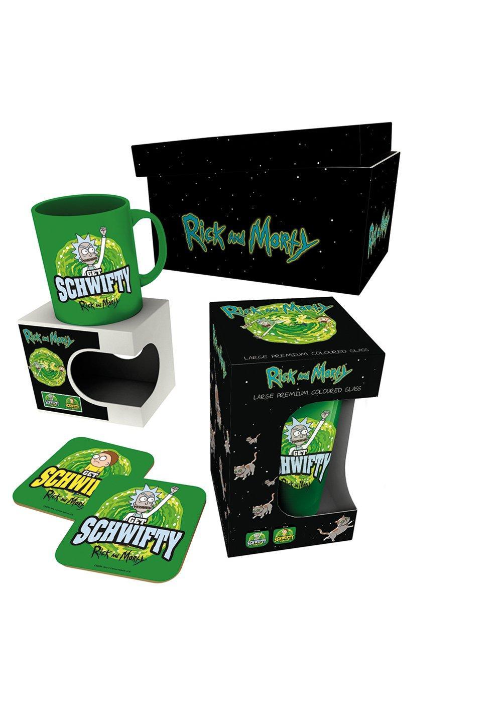 RICK & MORTY- Giftbox - Chope, mug & 2 dessous de verre - Get Schwifty
