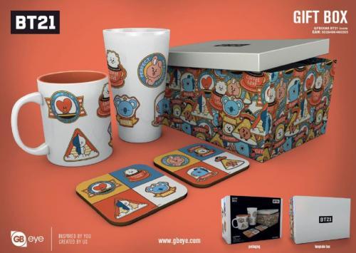 BT21 - Gift Box - Chope, mug, 2 dessous de verre - Icones