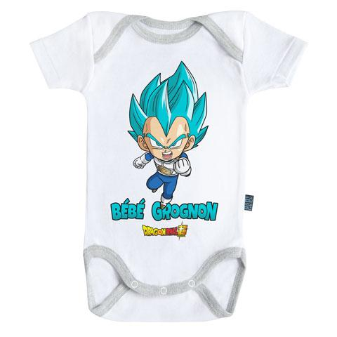 DRAGON BALL SUPER - Body Bébé - Vegeta : Bébé Grognon (3-6 Mois)