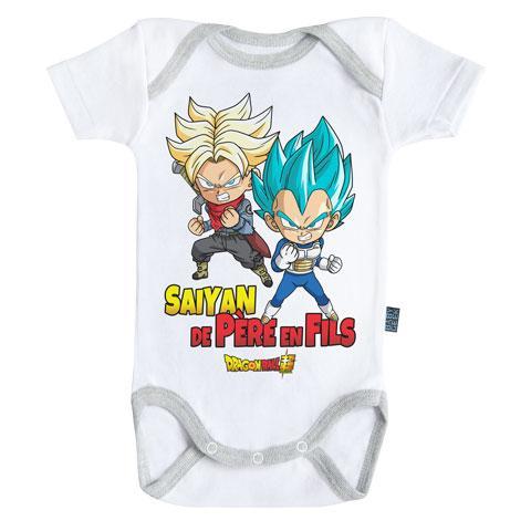 DRAGON BALL - Body Bébé - Saiyan de père en fils - (12-18 Mois)