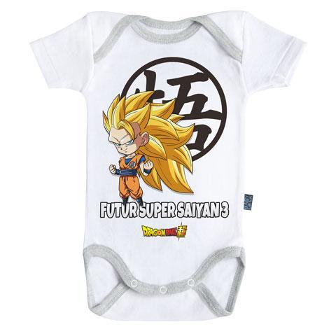 DRAGON BALL - Body Bébé - Futur Super Saiyan 3 - (3-6 Mois)