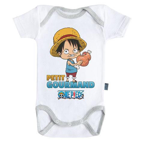 ONE PIECE - Body Bébé - Luffy : Petit Gourmand (3-6 Mois)