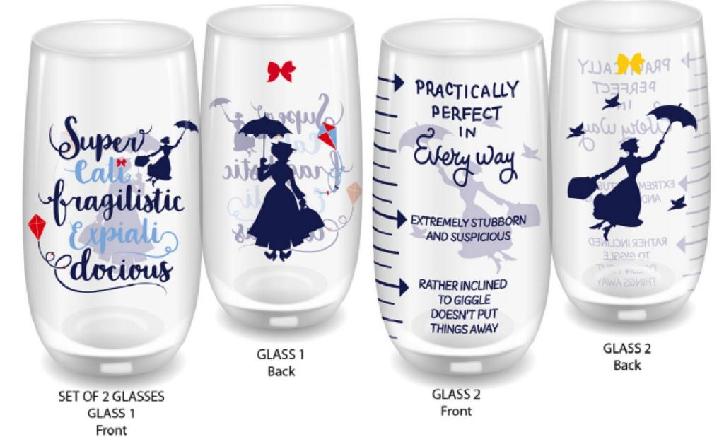 MARY POPPINS - Large Glass Set of 2 - Practically Perfect