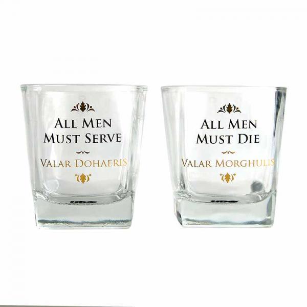 GAME OF THRONES - Gllass Tumblers 'Set of 2' - All Men Must Die
