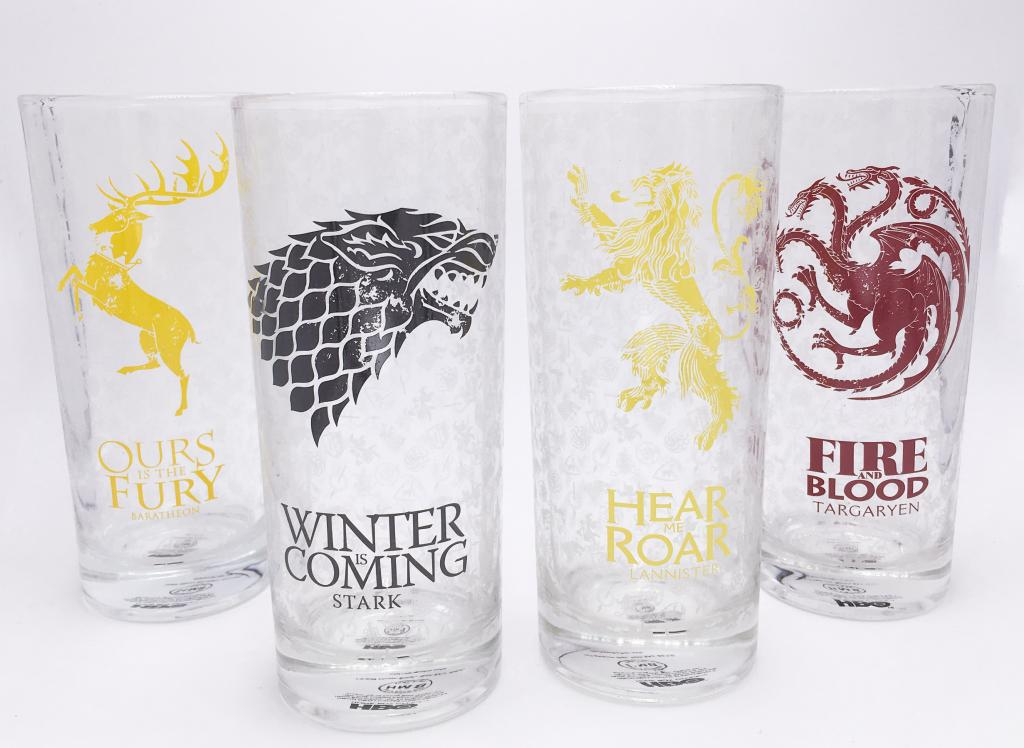 GAME OF THRONES - Glass Set of 4 - All Houses