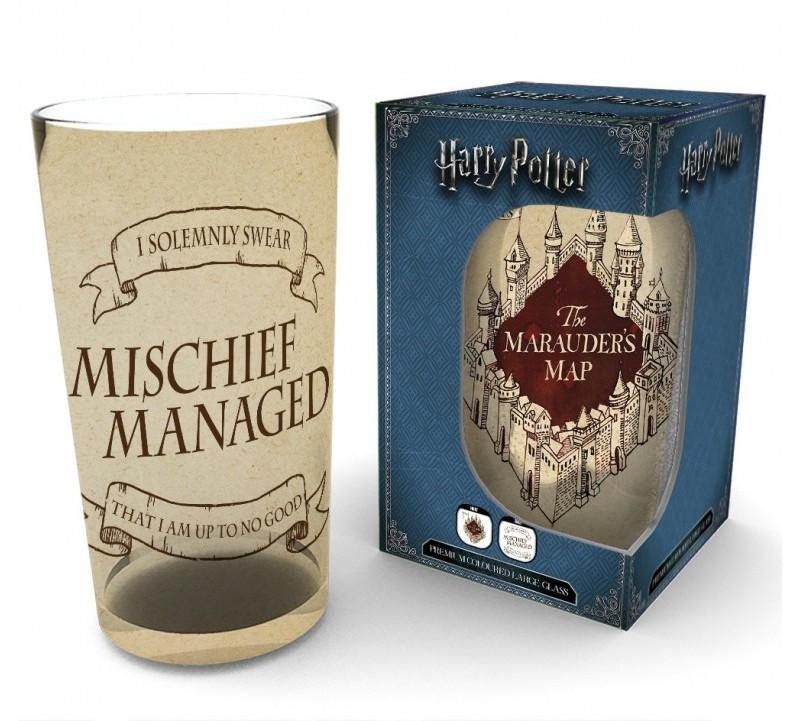 HARRY POTTER - Premium Coloured Large Glasses 500ml - Marauders Map