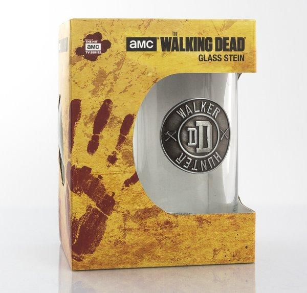 THE WALKING DEAD - Beer Glass 500ml Metal Badge - Walker Hunter_4