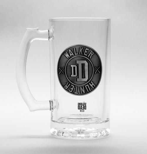 THE WALKING DEAD - Beer Glass 500ml Metal Badge - Walker Hunter