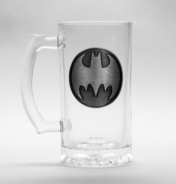 DC COMICS - Beer Glass 500ml Metal Badge - Batman Logo