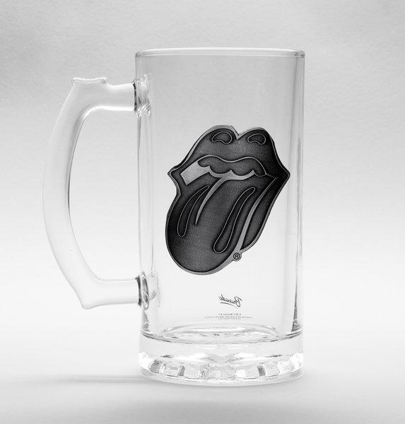 ROLLING STONES - Beer Glass 500ml Metal Badge - Tongue_1