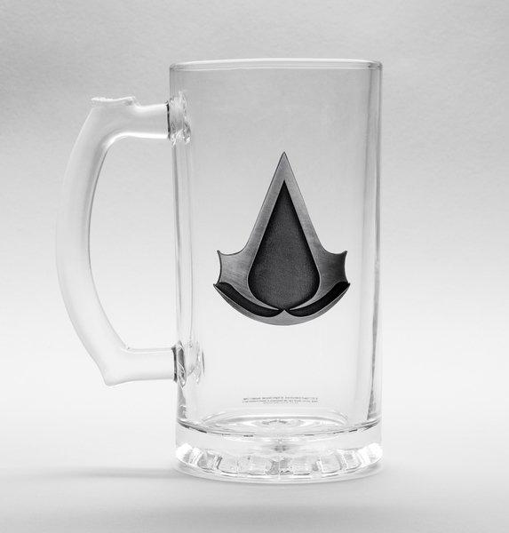 ASSASSINS CREED - Beer Glass 500ml Metal Badge - Logo