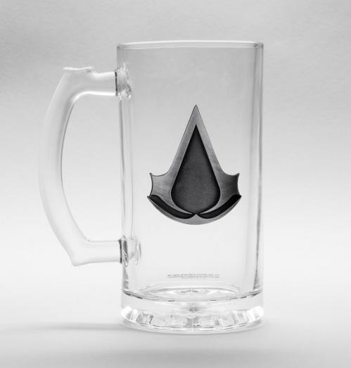 ASSASSINS CREED - Beer Glass 500ml Metal Badge - Logo