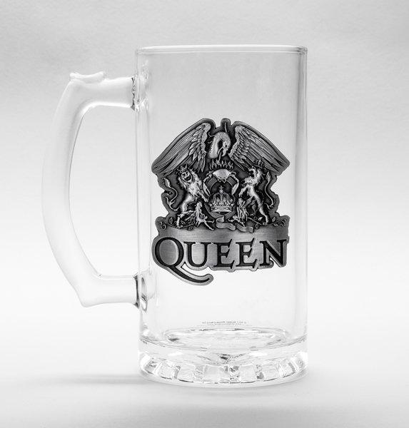 QUEEN - Beer Glass 500ml Metal Badge - Crest (Bravado)