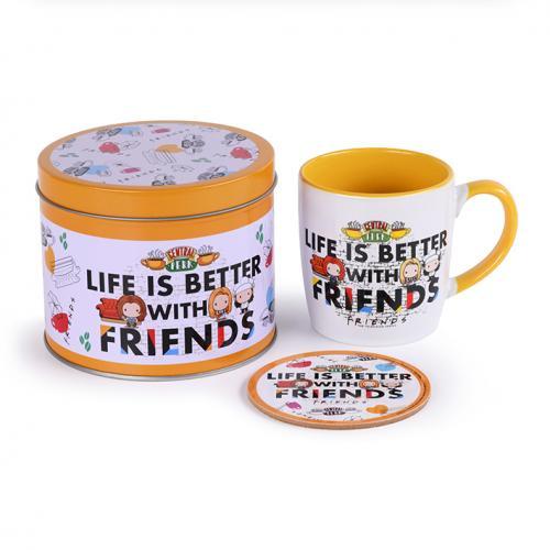 FRIENDS - Life is Better - Box métal, mug & sous verre
