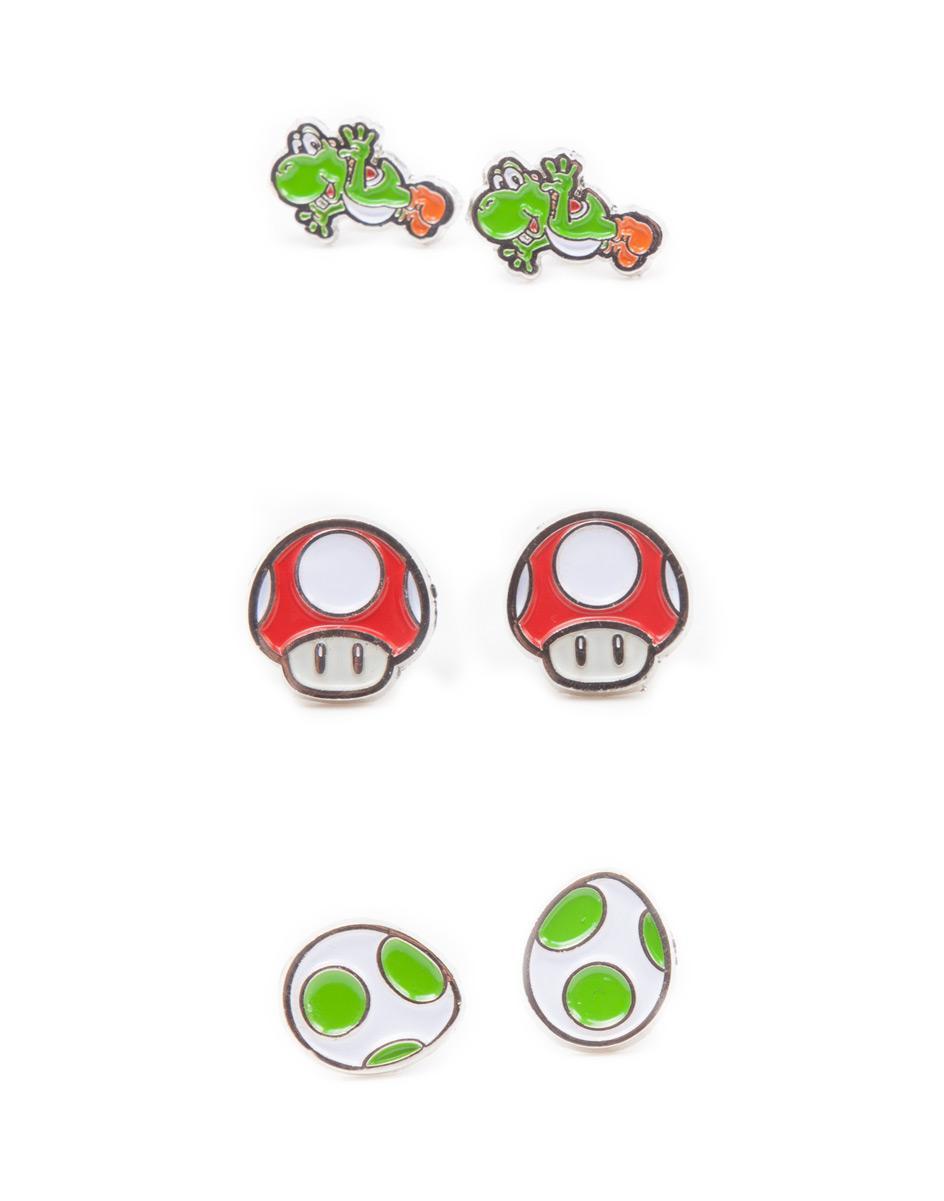 NINTENDO - 3 Paires de boucles d'oreilles - Yoshi Egg and Mushroom
