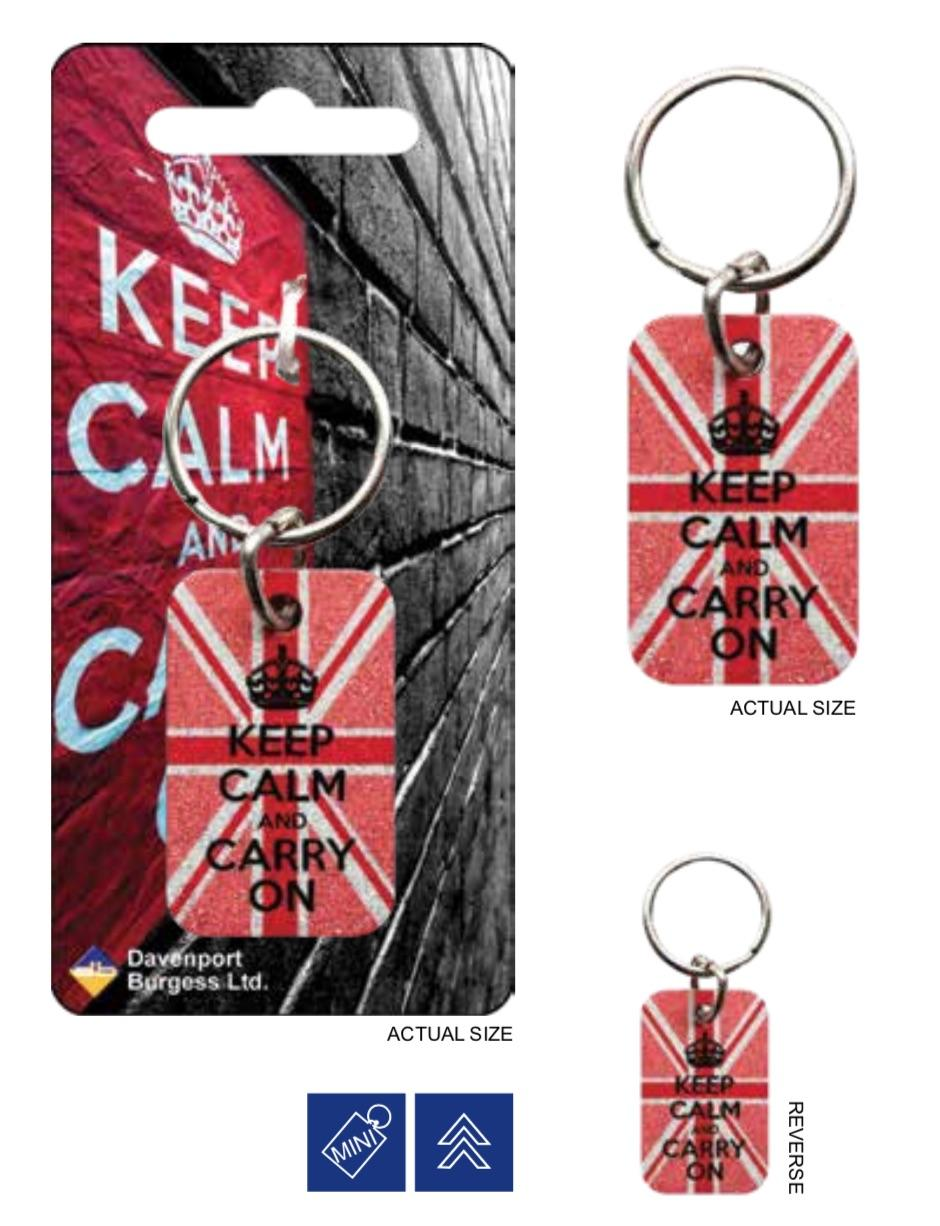 KEEP CALM - Porte-Cles Metal - Glitter Pink