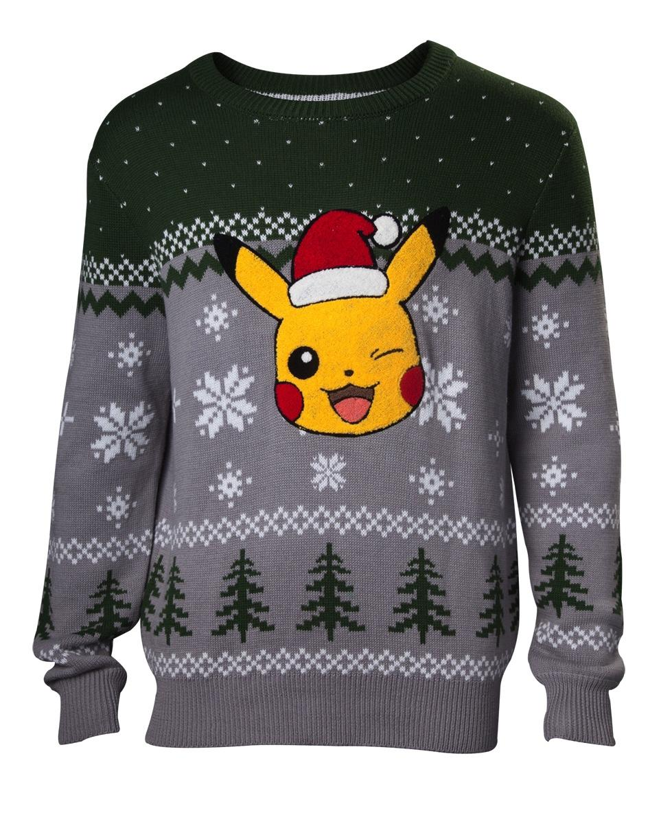 NINTENDO - Pikachu Application Merry Christmas Knitted Sweater (S)
