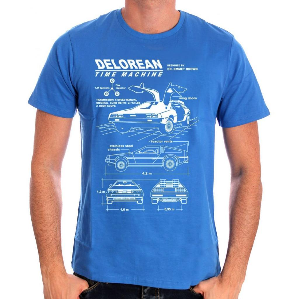 BACK TO THE FUTURE - T-Shirt Blue Dolerean Plan (XXL)