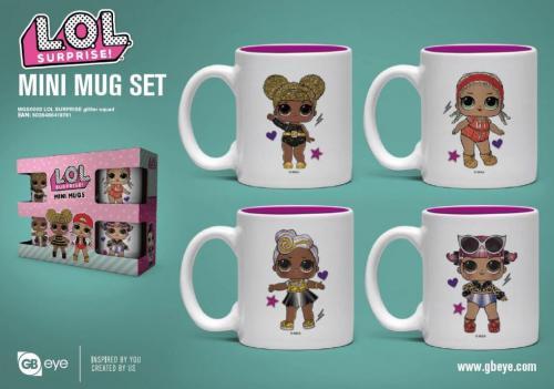 LOL SURPRISE - Set de 4 mini mugs 150ml - Glitter Squad
