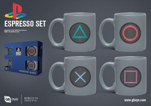 PLAYSTATION - Set de 4 mini mugs 150ml - Boutons