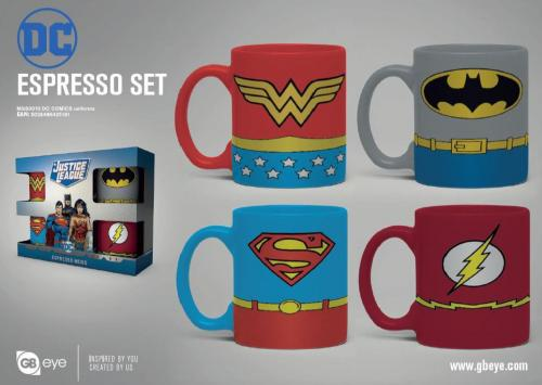 DC COMICS - Set de 4 mini mugs 150ml - Uniformes