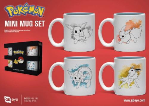 POKEMON - Set de 4 mini mugs 150ml - Evoli