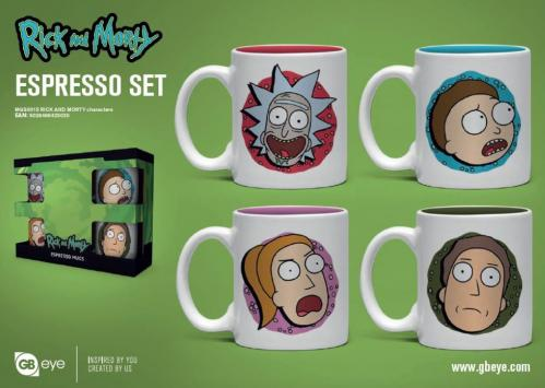 RICK & MORTY - Set de 4 mini mugs 150ml - Personnages