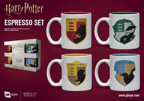 HARRY POTTER - Set de 4 mini mugs 150ml - Maisons de Poudlard