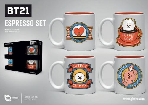 BT21 - Set de 4 mini mugs 150ml - Icones