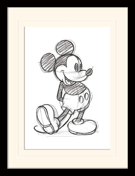DISNEY - Mounted & Framed 30X40 Print - Mickey Mouse - Sketched