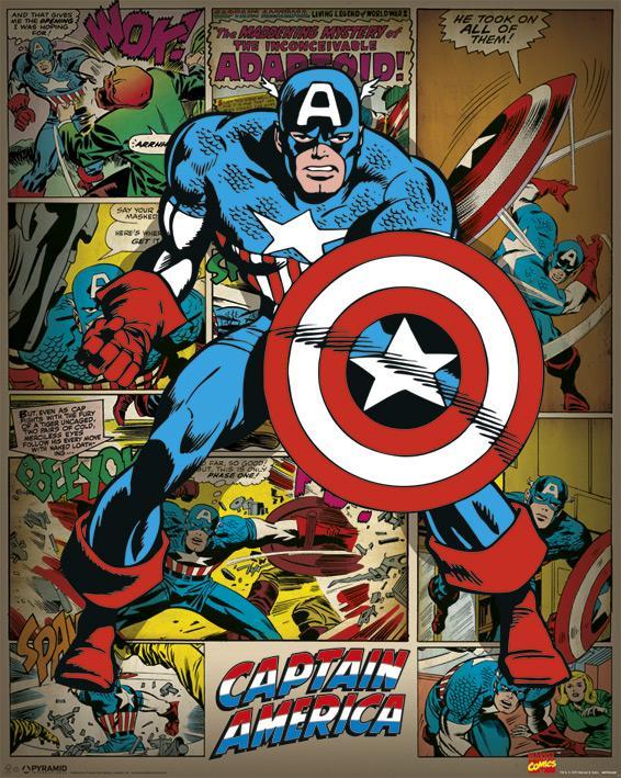 MARVEL - Mini Poster 40X50 - Comics Captain America Retro