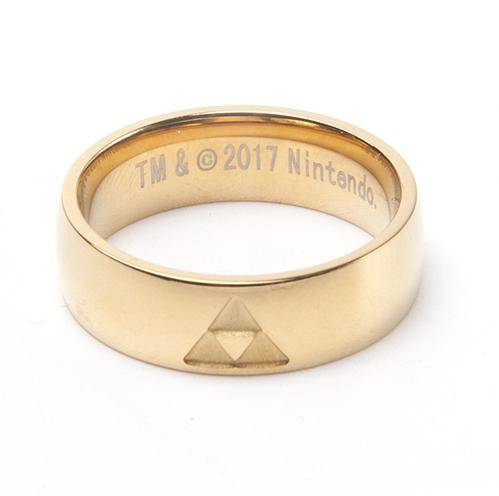 ZELDA - Golden Ring With Triforce Logo (L)