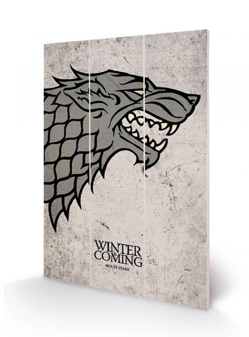GAME OF THRONES - Impression sur Bois 20x29.5 - Stark Sigil