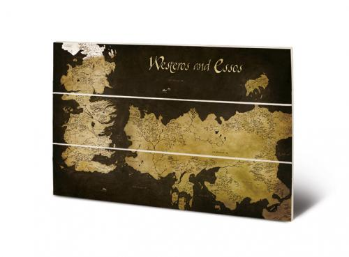 GAME OF THRONES - Impression sur Bois 20x29.5 - Westeros & Essos Map