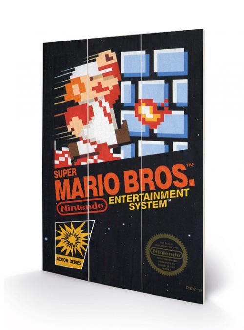 SUPER MARIO BROS - NES Cover - Impression sur bois 20x29.5