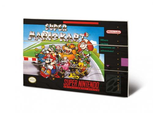 SUPER NINTENDO - Super Mario Kart - Impression sur bois 20x29.5