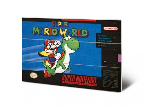 SUPER NINTENDO - Super Mario World - Impression sur bois 20x29.5