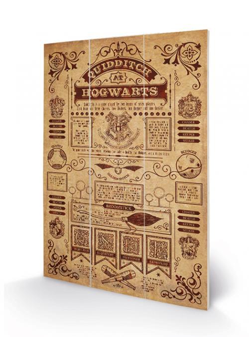HARRY POTTER - Quidditch at Hogwarts - Impression sur bois 20x29.5