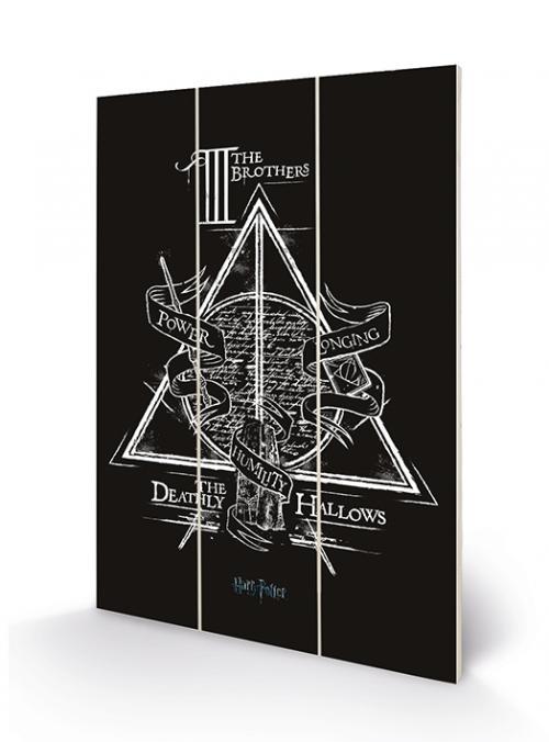 HARRY POTTER - Deathly Hallows - Impression sur bois 20x29.5