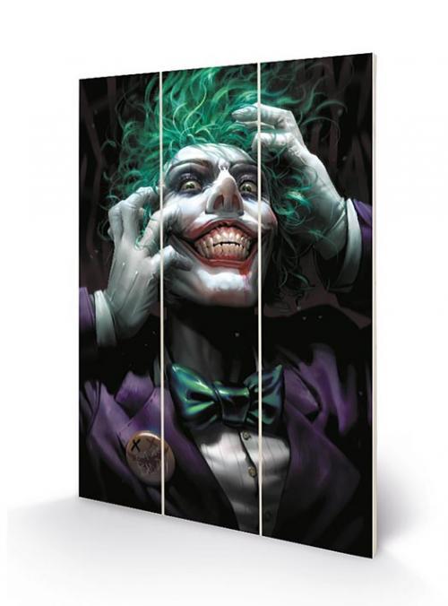 DC COMICS - Joker (Crazy Close Up) - Impression sur bois 20x29.5