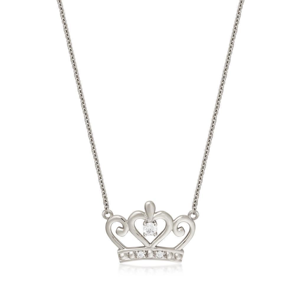DISNEY METAL PRECIOUS - Princess Crown Necklace 'Sterling Silver'