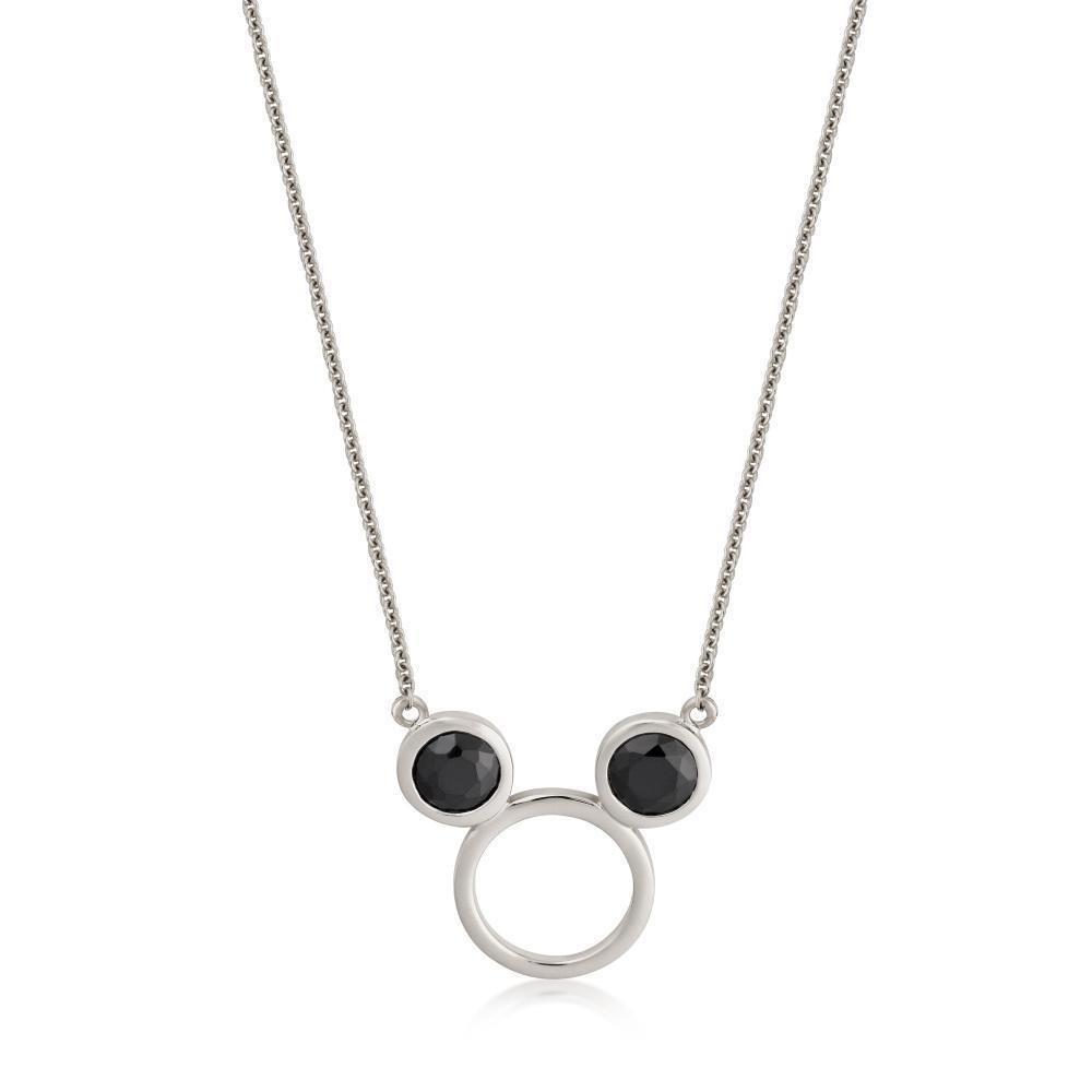 DISNEY METAL PRECIOUS - Black CZ Mickey Necklace 'Sterling Silver'