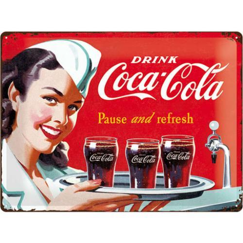 COCA-COLA - 1960 Waitress - Plaque métal '30x40cm'