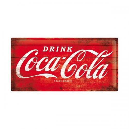 COCA-COLA - 1960 logo - Plaque métal '25x50cm'