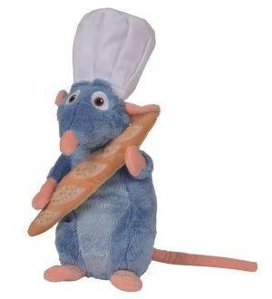 DISNEY - Peluche Ratatouille : Remy avec Toque + Baguette - 25cm
