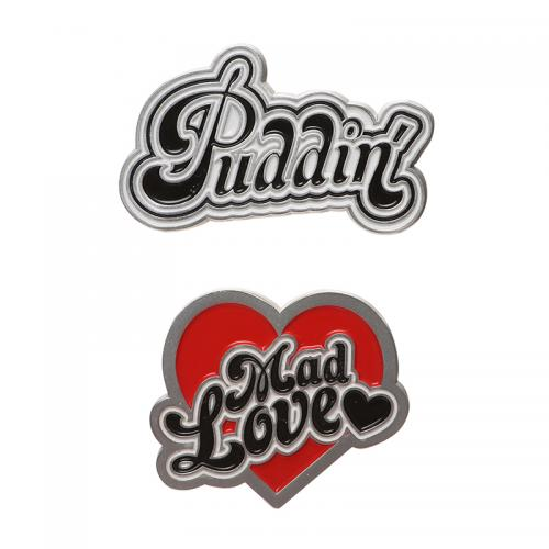 HARLEY QUINN - Puddin & Mad Love - Set de 2 pin's en émail