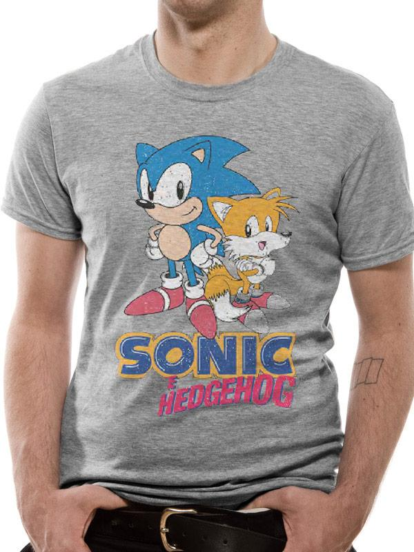 SONIC THE HEDGEHOG - T-Shirt IN A TUBE - Vintage Sonic and Tails (S)